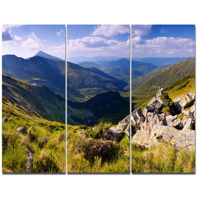 Designart Rocky Summer Hills Under Blue Sky Landscape Canvas Art Print - 3 Panels