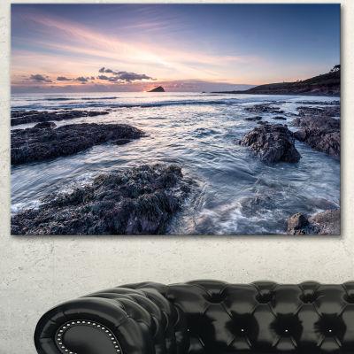Designart Rocky Wembury Beach Sunset Large Seashore Canvas Art Print