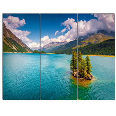 Designart Silsersee Lake In The Swiss Alps LargeLandscape Canvas Art Print - 3 Panels