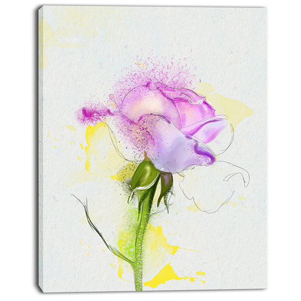 Designart Purple Rose With Stem And Splashes Floral Canvas Art Print