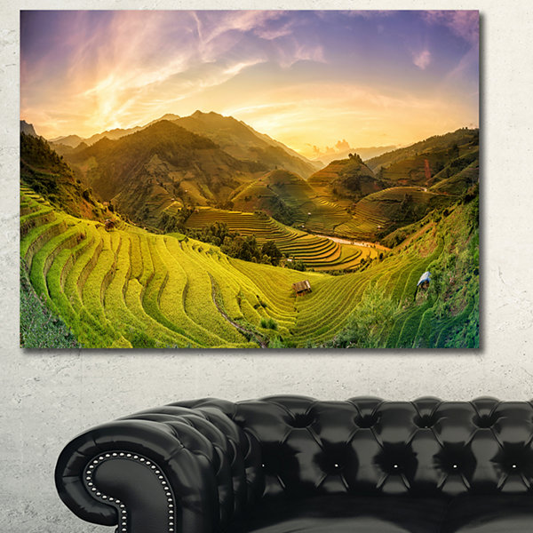 Design Art Rice Fields On Terraced Panorama Landscape Canvas Art Print - 3 Panels