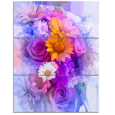 Designart Rose Daisy And Gerbera Flowers Large Floral Canvas Artwork - 3 Panels
