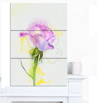 Design Art Purple Rose With Stem And Splashes Floral Canvas Art Print - 3 Panels