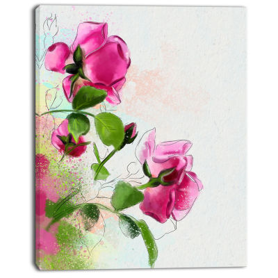 Designart Purple Roses With Green Leaves Floral Canvas Art Print