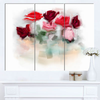 Designart Rose Floral Watercolor Illustration Large Animal Canvas Art Print - 3 Panels