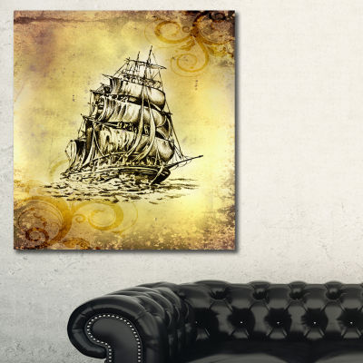 Designart Single Antique Boat Sea Drawing SeashoreWall Art On Canvas
