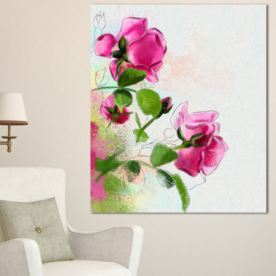 Designart Purple Roses With Green Leaves Floral Canvas Art Print - 3 Panels