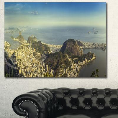 Design Art Rio De Janeiro With Copacabana LandscapeCanvas Art Print - 3 Panels