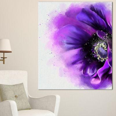 Designart Purple Stylized Watercolor Poppy FloralCanvas Art Print
