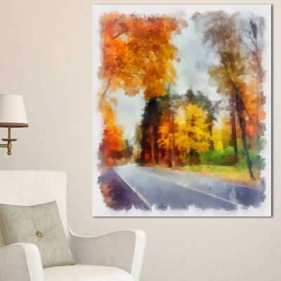 Designart Road And Forest Sketch Watercolor Landscape Canvas Wall Art