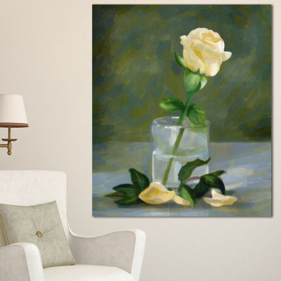 Designart Rose Flower In Glass Watercolor FloralCanvas Art Print