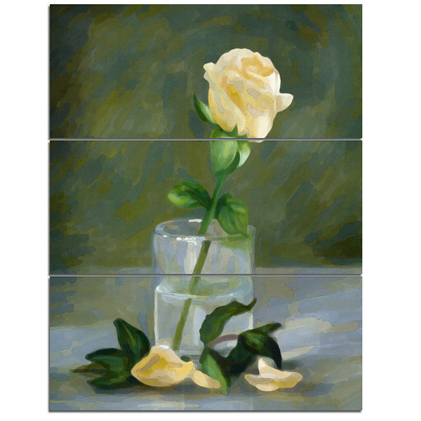 Designart Rose Flower In Glass Watercolor FloralCanvas Art Print - 3 Panels