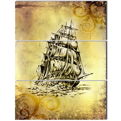 Designart Single Antique Boat Sea Drawing SeashoreWall Art On Canvas - 3 Panels