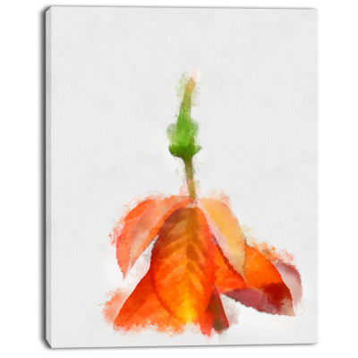 Designart Rose Flower Stem With Shed Petals LargeFloral Canvas Artwork