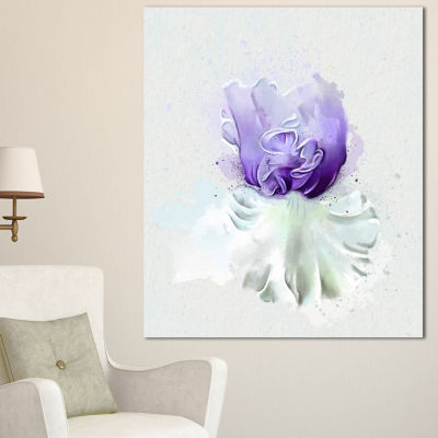 Designart Purple Watercolor Flower With White Flowers Canvas Wall Artwork