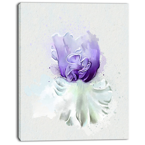 Design Art Purple Watercolor Flower With White Flowers Canvas Wall Artwork