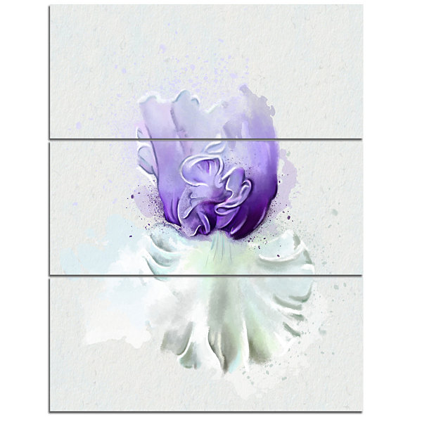 Design Art Purple Watercolor Flower With White Flowers Canvas Wall Artwork - 3 Panels