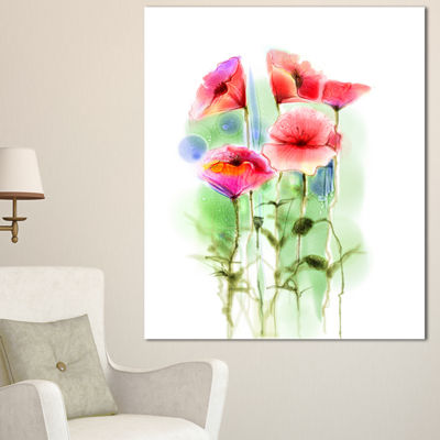Designart Red Poppy Flowers Watercolor Sketch Large Floral Canvas Art Print - 3 Panels