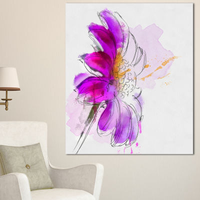 Designart Purple Watercolor Gerbera IllustrationFloral Canvas Art Print