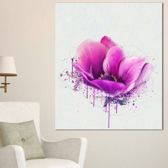 Designart Purple Watercolor Poppy Flower Floral Canvas Art Print