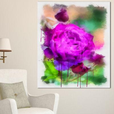 Design Art Purple Watercolor Rose Painting FloralCanvas Art Print - 3 Panels