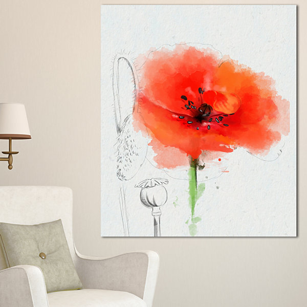 Design Art Red Poppy Watercolor Painting Floral Canvas Art Print - 3 Panels