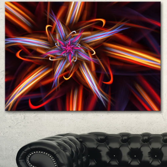Designart Red Purple Colorful Fractal Design Floral Canvas Art Print