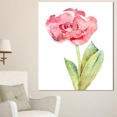 Designart Single Pink Tulip On White Background Flower Artwork On Canvas - 3 Panels