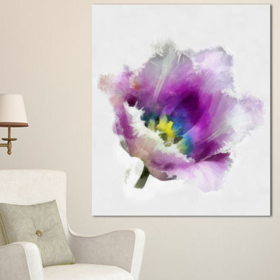 Designart Purple Watercolor Tulip Flower Floral Canvas Art Print - 3 Panels
