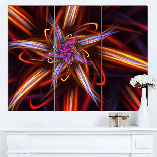 Design Art Red Purple Colorful Fractal Design Floral Canvas Art Print - 3 Panels