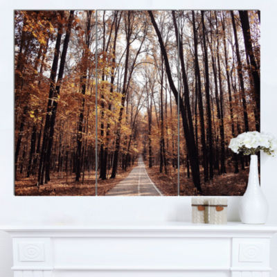 Design Art Road In Autumn Golden Forest Forest Canvas Art Print - 3 Panels