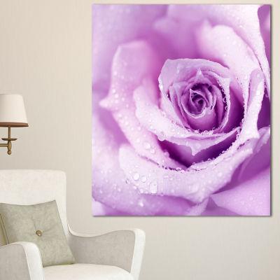 Design Art Purple Wet Rose Background Flowers Canvas Wall Artwork - 3 Panels