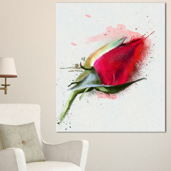 Designart Red Rose Bud Watercolor Sketch FlowersCanvas Wall Artwork