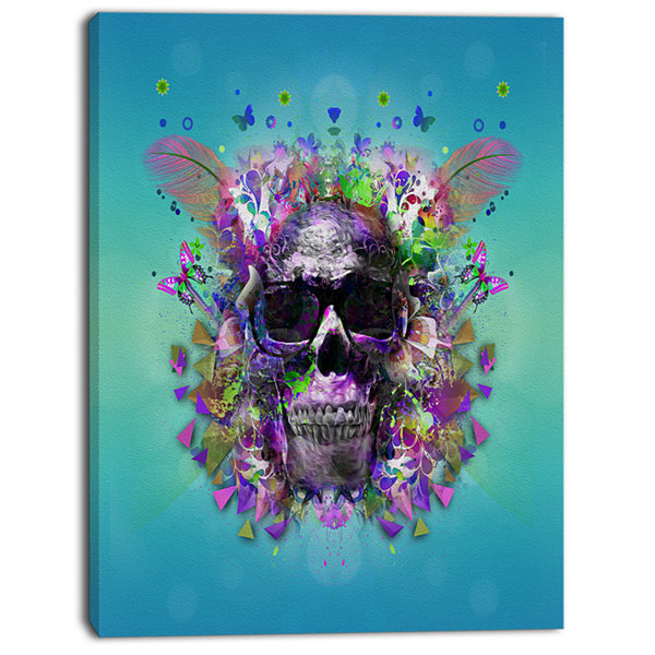 Designart Skull With Glasses And Butterflies Abstract Wall Art Canvas
