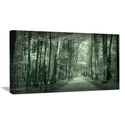 Designart Road In Dark Autumn Forest Modern ForestCanvas Art