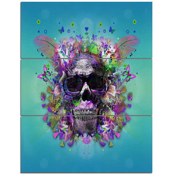 Designart Skull With Glasses And Butterflies Abstract Wall Art Canvas - 3 Panels