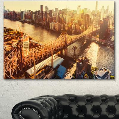Designart Queensboro Bridge Over East River LargeCityscape Canvas Art Print - 3 Panels
