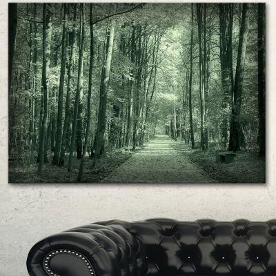 Designart Road In Dark Autumn Forest Modern ForestCanvas Art - 3 Panels