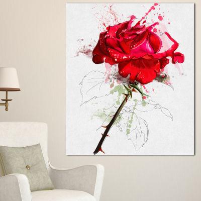 Designart Rose Sketch With Stem On White Flower Artwork On Canvas