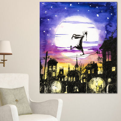 Designart Sleepwalker In Moonlight Abstract CanvasArtwork - 3 Panels
