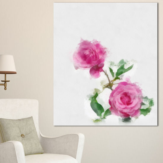 Designart Rose Stem With Pair Of Roses Floral Canvas Art Print