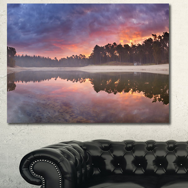 Designart Quiet Lake Mirroring The Sky LandscapeCanvas Art Print - 3 Panels