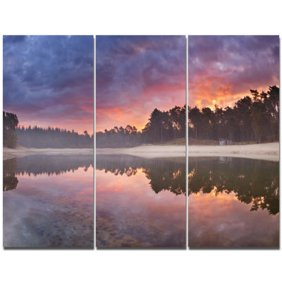 Designart Quiet Lake Mirroring The Sky Landscape Canvas Art Print - 3 Panels