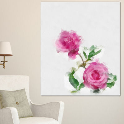 Designart Rose Stem With Pair Of Roses Floral Canvas Art Print - 3 Panels