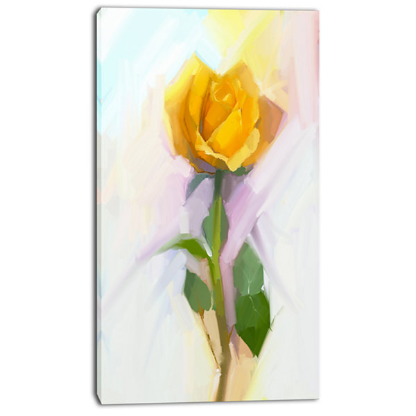 Design Art Rose With Green Leaves Painting Large Floral Canvas Artwork
