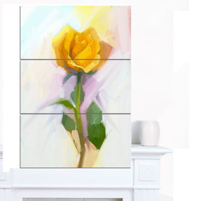 Designart Rose With Green Leaves Painting Large Floral Canvas Artwork - 3 Panels