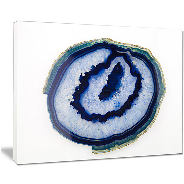 Designart Slice Of Beautiful Blue Agate AbstractCanvas Wall Art Print