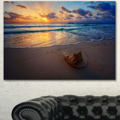 Designart Quiet Seashore During Sunset Seashore Canvas Art Print - 3 Panels