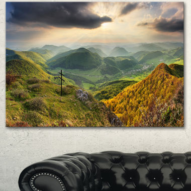 Designart Slovakia Spring Forest Mountain Large Landscape Canvas Art Print