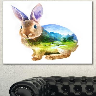 Designart Rabbit Double Exposure Illustration Large Animal Canvas Art Print